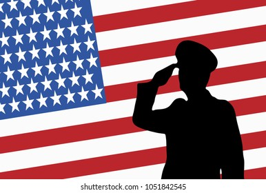 Remember and Honor on Memorial Day USA. Illustration of soldier saluting. Silhouette of a military officer.