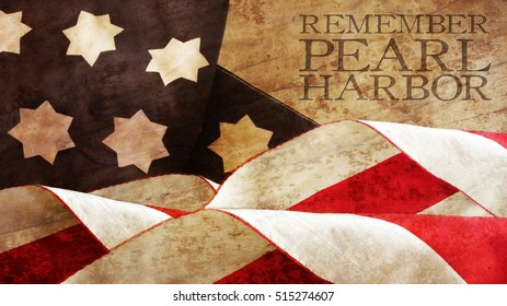 Remember Pearl Harbor. Flag Waves on Wood