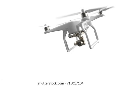 Remote Control Air Drone Dron Flying with action camera. Isolated on White Background. 3D rendering