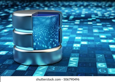 Remote data storage, cloud computing, network data server and computer technology concept, metallic database on blue background with digital code, 3d illustration