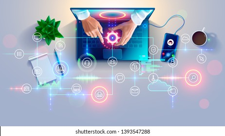 Remote Support online. Remotely access and control desktop of computers or laptop via web internet connection. System administrator helps of customers, employees fix issues, setup software, equipment.