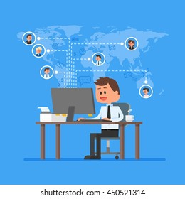 Remote team working concept. Work from home illustration in flat style design. Remote business control and project management. Freelance job. Social network and internet friends concept.