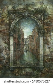 Renaissance arch with a Venetian cityscape inside, acrylic on paper