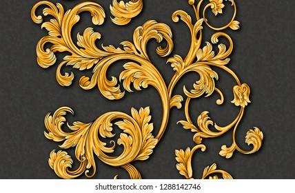 Renaissance monogram floral ornament pattern. Wallpaper baroque, damask. Seamless  background gold and black ornament.