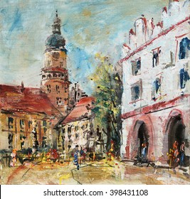 Renaissance Square and the castle tower, art oil painting