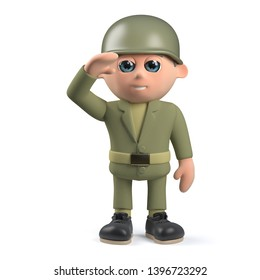 Render of a 3d army soldier character salutes with honour