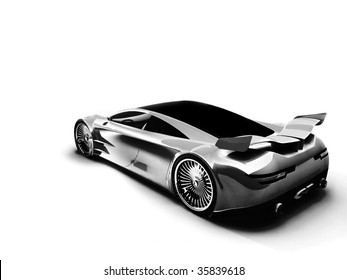 render 3D car behind on a white background