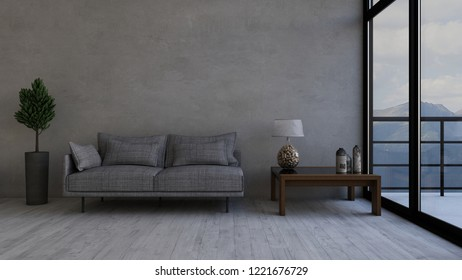 Render of 3D contemporary Living Room Interior and modern furniture