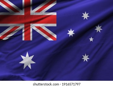Render 3D of the flag of Australia.  Image, RGB, jpg. Perfect for printing on T-shirts, posters, wall murals, wall murals, cups, glasses, sun loungers, banners, roll-ups, exhibition walls and more.