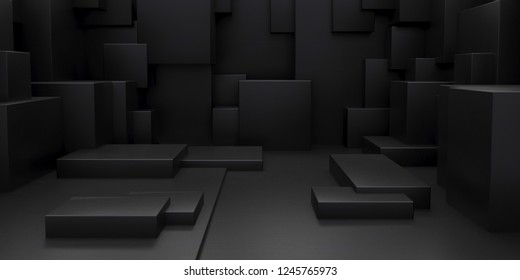Render of 3D Geometric Abstract Cuboid Wallpaper Background