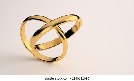 Render 3D - Golden wedding ring 2