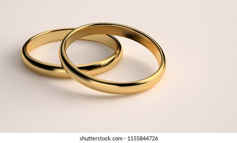 Render 3D - Golden wedding rings