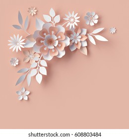 3 d render abstract paper flowers decorative stock illustration render abstract paper flowers decorative corner peachy rose pink background greeting card mightylinksfo