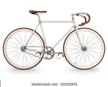 Render bicycle on white, fixed gear.