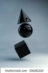 Render of black geometric shapes