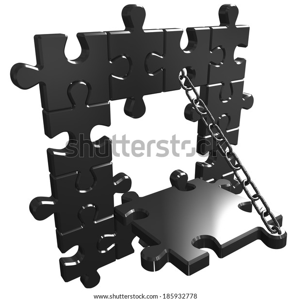 Render of chain join puzzle jigsaw
