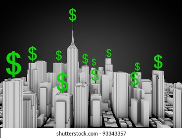 render of a city with floating dollar symbols
