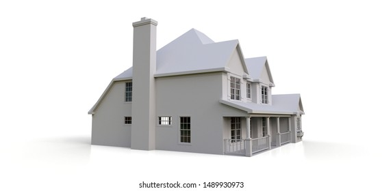 Render of a classic American country house. 3d illustration.