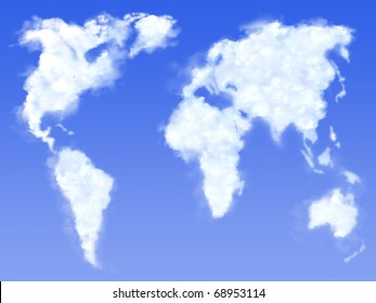 Render of clouds on sky in form global map of earth