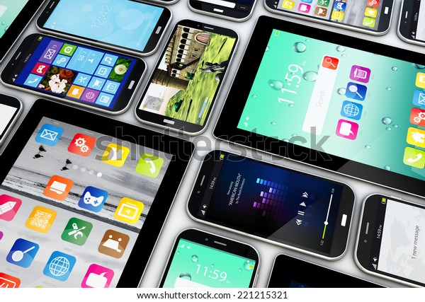 render of a collection of smartphones and tablets with different screens