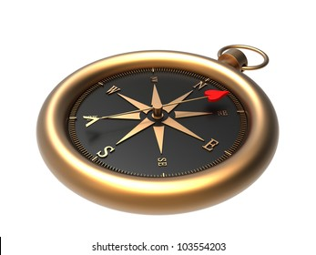 Render of a compass showing the direction to love  isolated on a white background