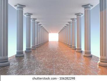 render of a corridor with columns
