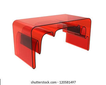 Render of creative desk isolated on a white background