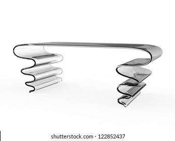 Render of creative desk on a white background