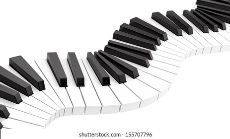 render of curvy piano keyboard, isolated on white