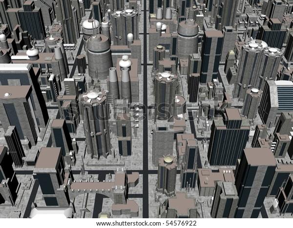 Render of dystopian city