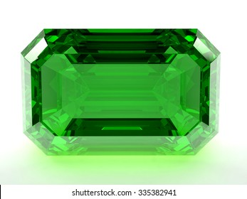 Render of emerald on a white background.