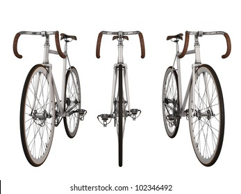 Render fixed gear bicycle on white