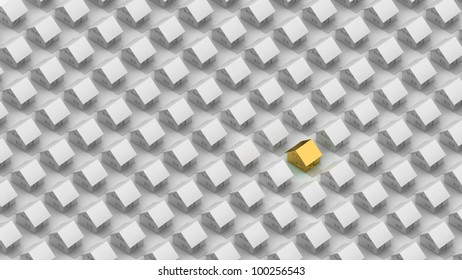 Render of a gold house between the silver houses in orthographic view.