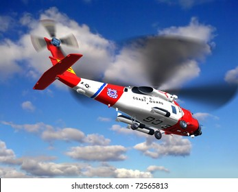 Render of helicopter coast guard Jayhawk  fly on sky