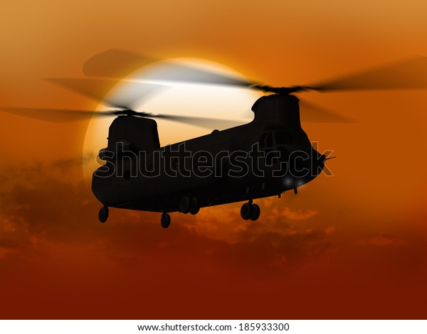 Render of helicopter flying from sun