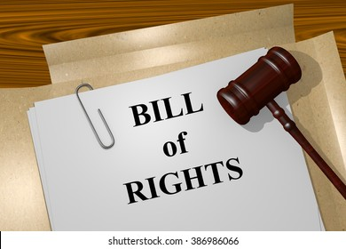 Render illustration of Bill of Rights title on Legal Documents