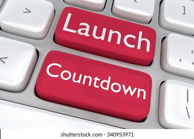 Render illustration of computer keyboard with the print Launch Countdown on two adjacent red buttons