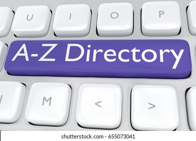 "Render illustration of computer keyboard with the print ""A-Z Directory"" on a dark blue button"