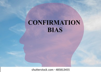 """Render illustration of """"CONFIRMATION BIAS"""" title on head silhouette, with cloudy sky as a background."""
