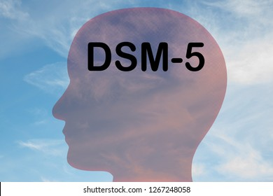Render illustration of DSM-5 title on head silhouette, with cloudy sky as a background.