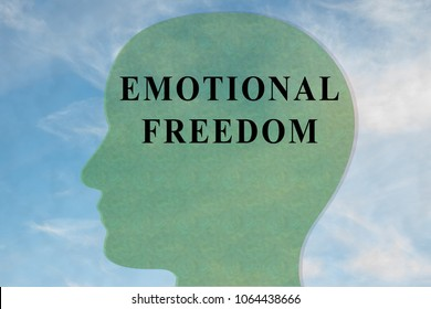Render illustration of EMOTIONAL FREEDOM title on head silhouette, with cloudy sky as a background.