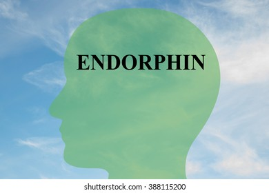 Render illustration of Endorphin title on head silhouette, with cloudy sky as a background