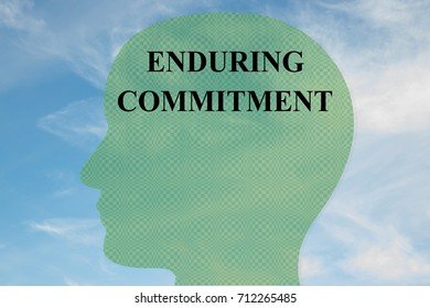 "Render illustration of ""ENDURING COMMITMENT"" title on head silhouette, with cloudy sky as a background."