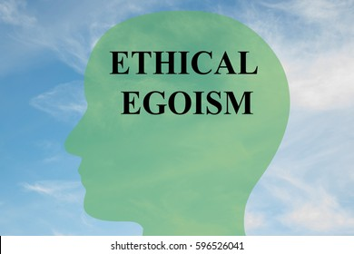 """Render illustration of """"ETHICAL EGOISM"""" script on head silhouette, with cloudy sky as a background."""