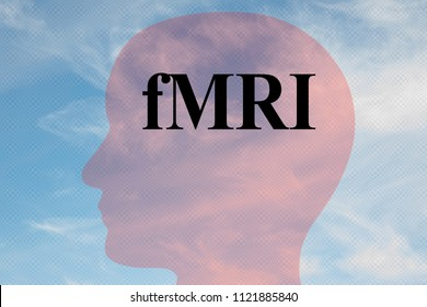 Render illustration of fMRI title on head silhouette, with cloudy sky as a background.