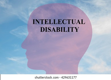 "Render illustration of ""INTELLECTUAL DISABILITY"" script on head silhouette, with cloudy sky as a background. Human mental concept."