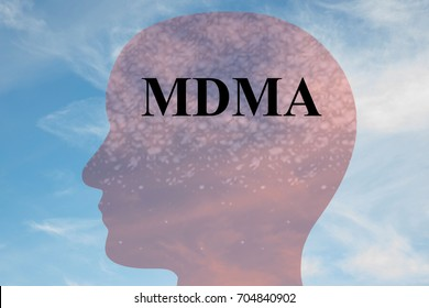 "Render illustration of ""MDMA"" title on head silhouette, with cloudy sky as a background."