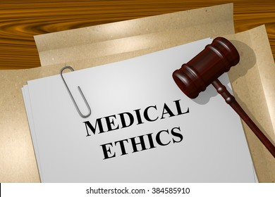 Render illustration of Medical Ethics title on Legal Documents
