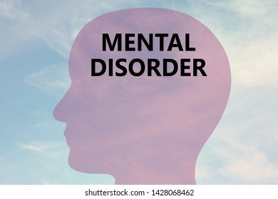 Render illustration of MENTAL DISIORDER title on head silhouette, with cloudy sky as a background.