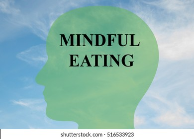 """Render illustration of """"MINDFUL EATING"""" script on head silhouette, with cloudy sky as a background."""